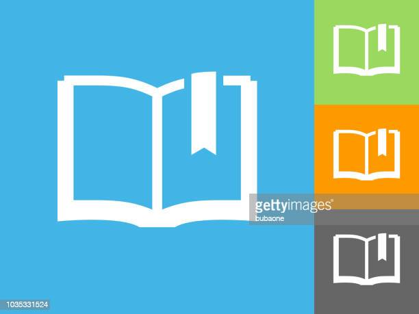 book flat icon on blue background - bookmark stock illustrations, clip art, cartoons, & icons