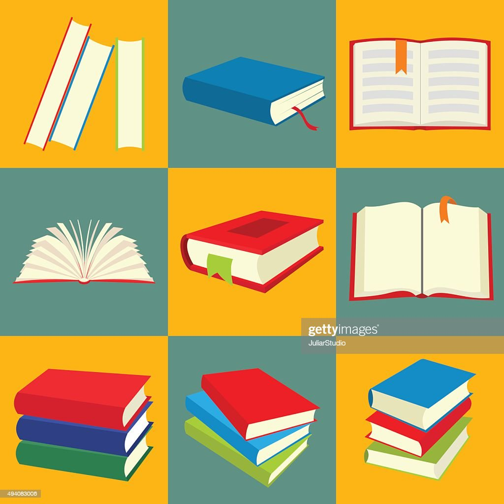 Book flat icon set