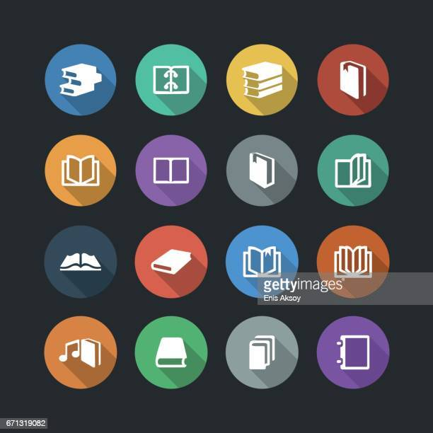 book flat icons - library stock illustrations, clip art, cartoons, & icons