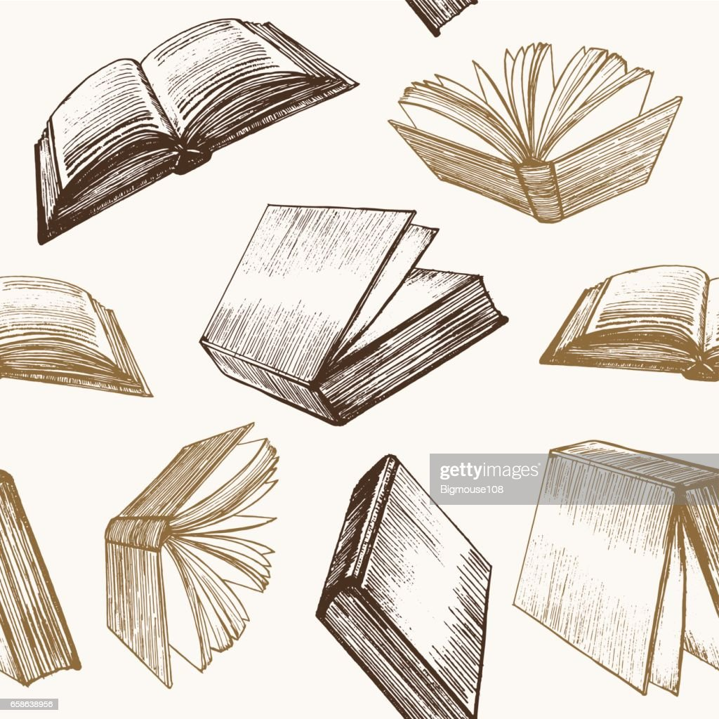 Book Hand Draw Sketch Background Pattern. Vector