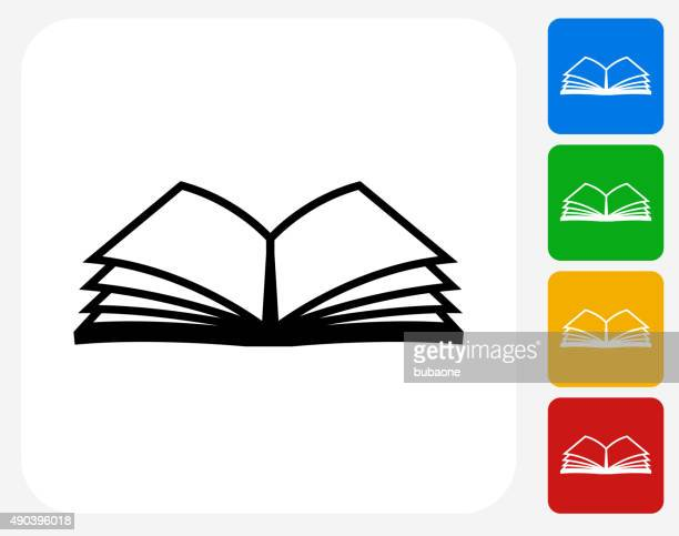 book icon flat graphic design - open sign stock illustrations, clip art, cartoons, & icons