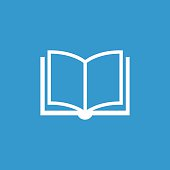 book icon, isolated, white on the blue background