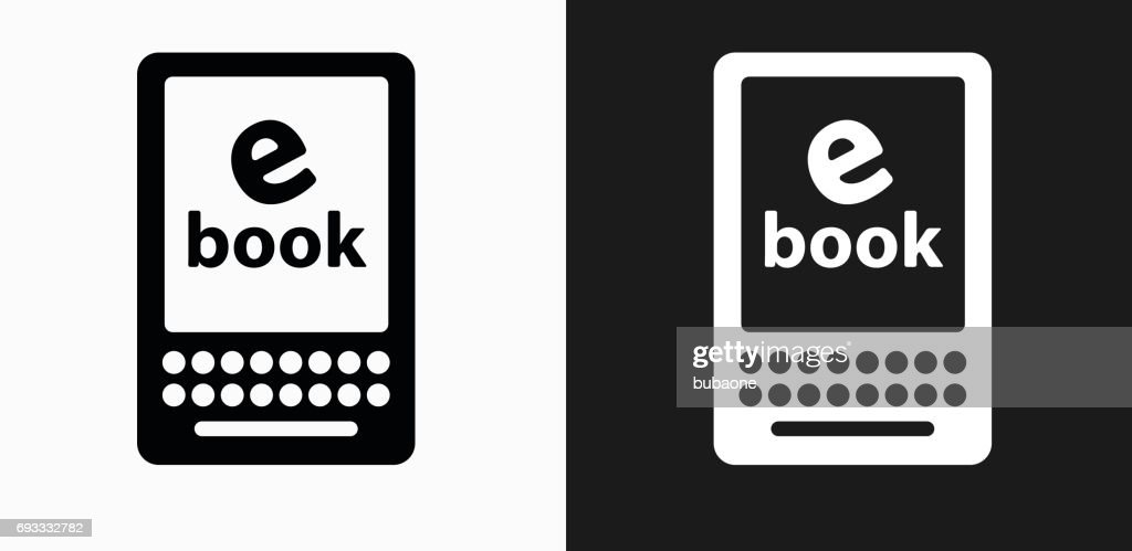 E Book Icon on Black and White Vector Backgrounds : stock illustration