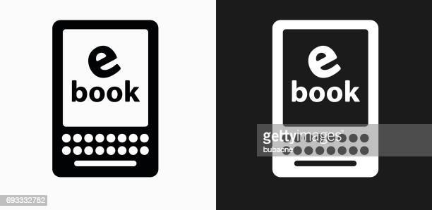 E Book Icon on Black and White Vector Backgrounds