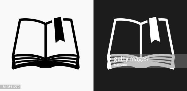 Book Icon on Black and White Vector Backgrounds