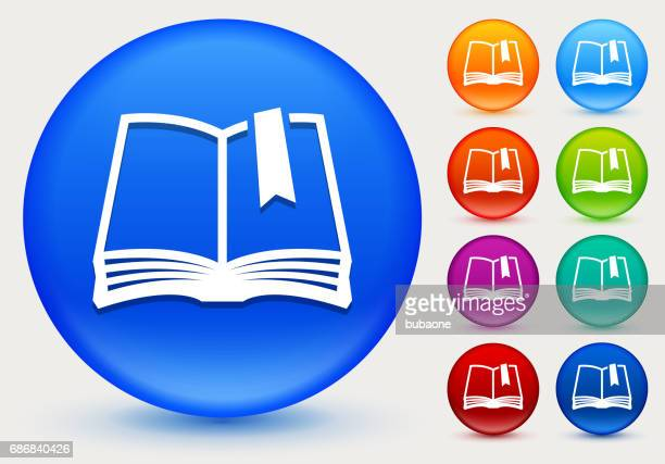 book icon on shiny color circle buttons - bookmark stock illustrations, clip art, cartoons, & icons