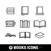 Book Icon Set. book Icon Art illustrations. White version