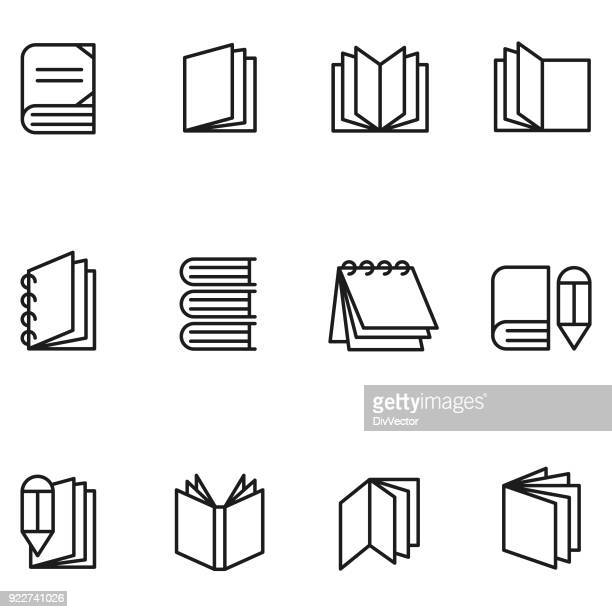 book icon set - magazine stock illustrations