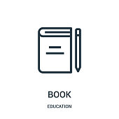 book icon vector from education collection. Thin line book outline icon vector illustration. Linear symbol for use on web and mobile apps, logo, print media.