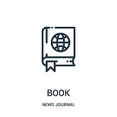 book icon vector from news journal collection. Thin line book outline icon vector illustration. Linear symbol for use on web and mobile apps, logo, print media.