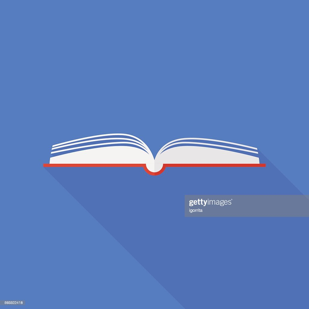 book icon with long shadow. flat style vector illustration