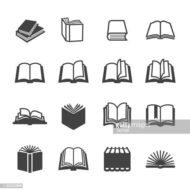 stockillustraties, clipart, cartoons en iconen met boek iconen set-acme series - boek