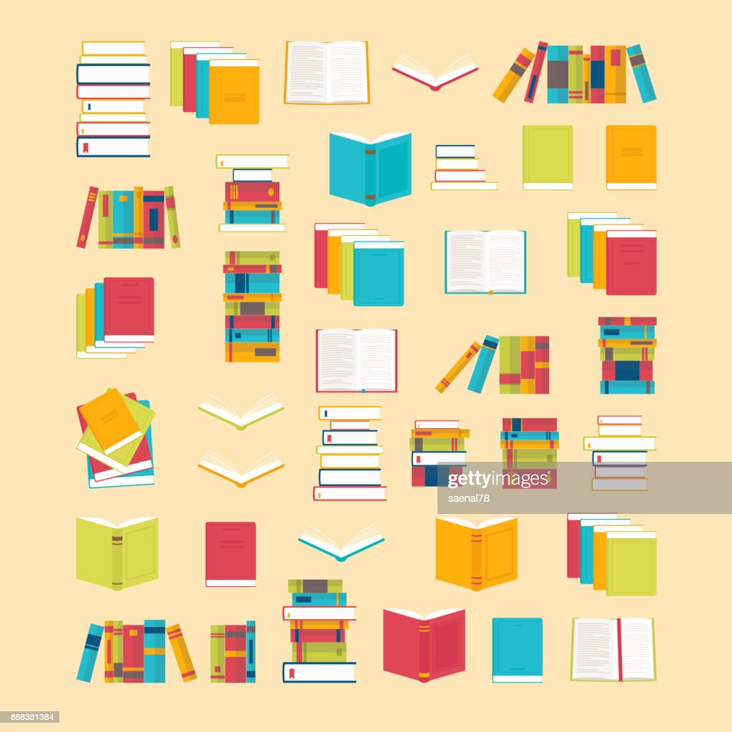 Book icons set in flat style for your design. School books background. Library, bookstore. Education concept