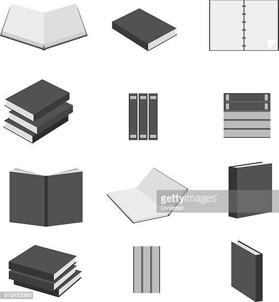 book icons set - encyclopaedia stock illustrations, clip art, cartoons, & icons