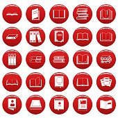 Book icons set vetor red