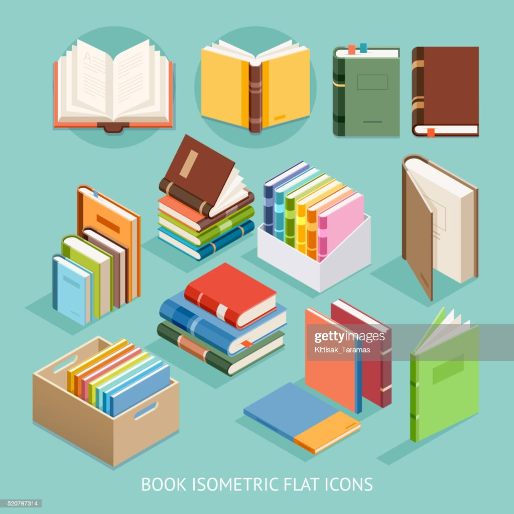 Book Isometric Flat Icons set.