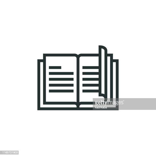 book line icon - brochure stock illustrations