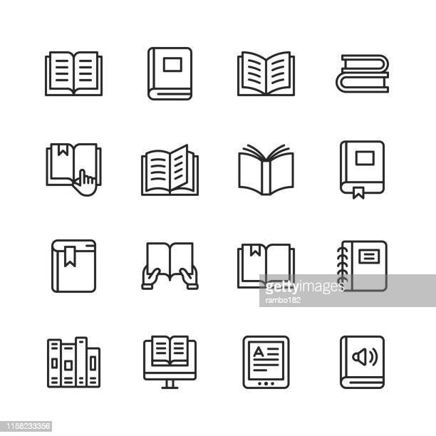 book line icons. editable stroke. pixel perfect. for mobile and web. contains such icons as book, open book, notebook, reading, writing, e-learning, audiobook. - instructions stock illustrations