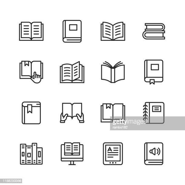 ilustrações, clipart, desenhos animados e ícones de ícones da linha do livro. traçado editável. pixel perfeito. para mobile e web. contem tais ícones como o livro, livro aberto, caderno, leitura, escrita, e-aprendendo, audiobook. - atividade