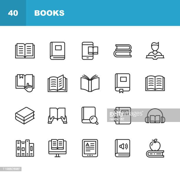 book line icons. editable stroke. pixel perfect. for mobile and web. contains such icons as book, open book, notebook, reading, writing, e-learning, audiobook. - book stock illustrations