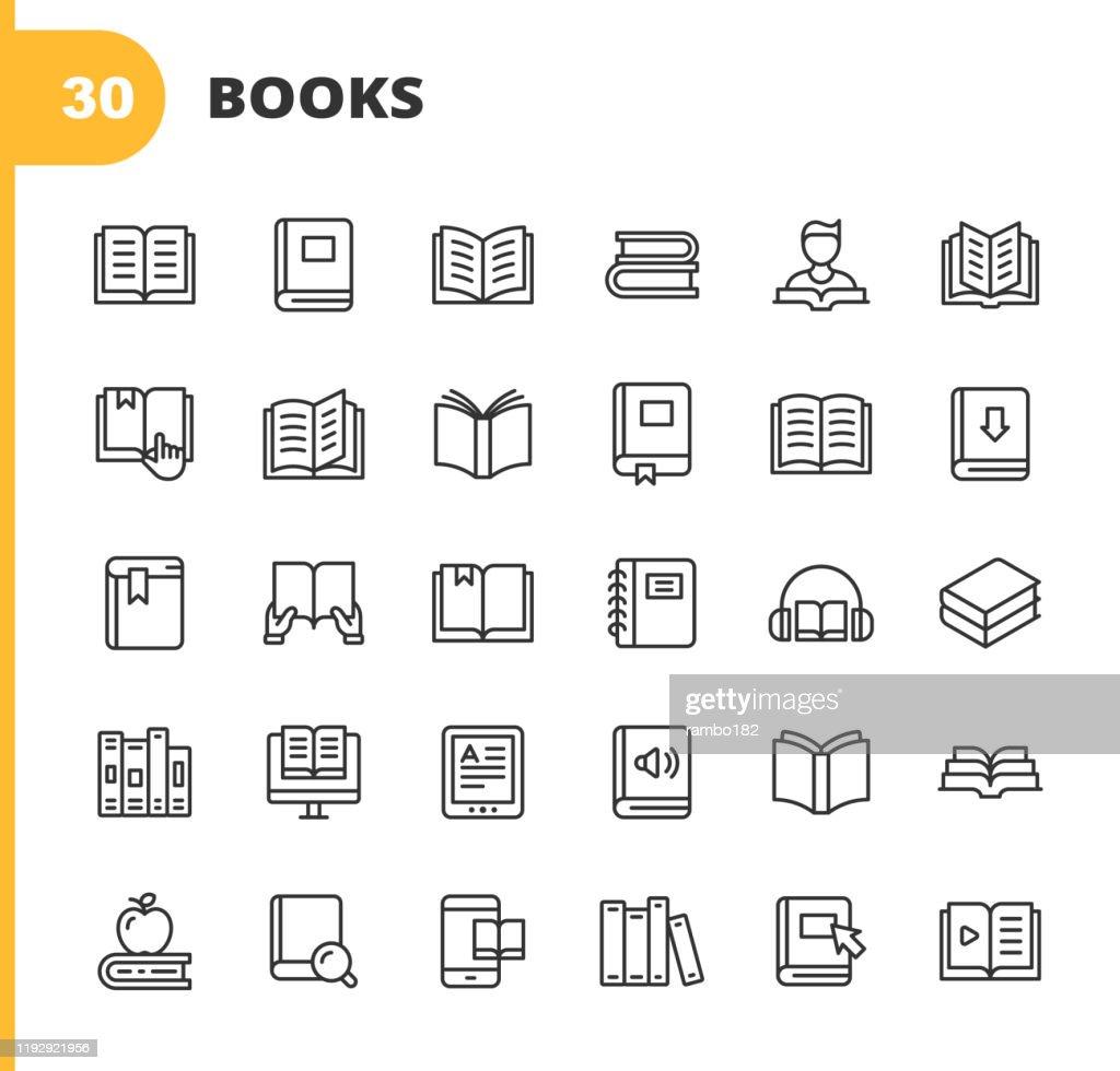 ブックラインアイコン。編集可能なストローク。ピクセルパーフェクト。モバイルおよび Web 用。書籍、オープンブック、ノートブック、リーディング、ライティング、Eラーニング、オーデ� : ストックイラストレーション