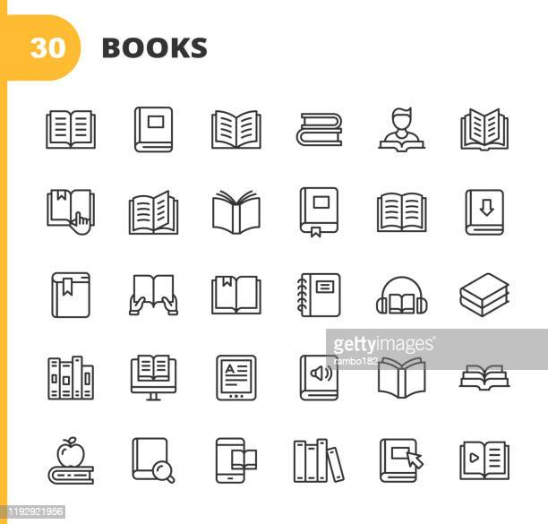 book line icons. editable stroke. pixel perfect. for mobile and web. contains such icons as book, open book, notebook, reading, writing, e-learning, audiobook. - reading stock illustrations