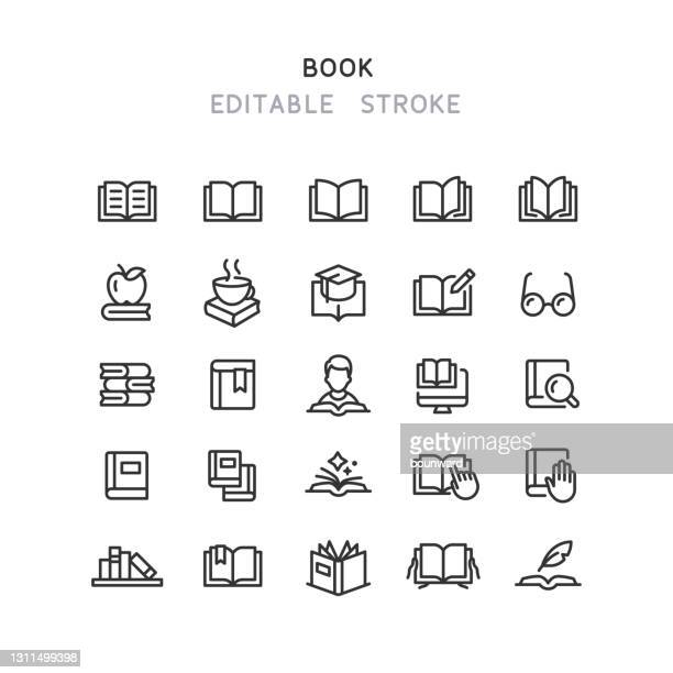 book line icons editable stroke - diary stock illustrations