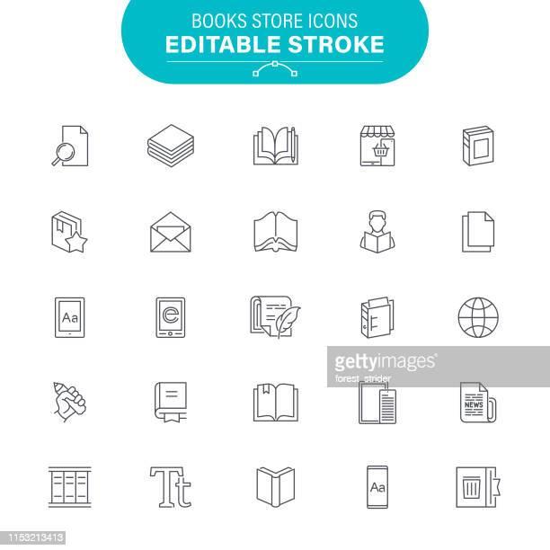 book line icons - magazine stock illustrations