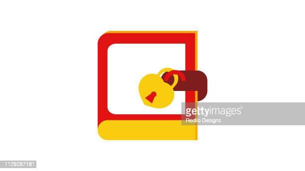 ilustrações, clipart, desenhos animados e ícones de fechamento do livro com ícone de cadeado do amor - registro livro