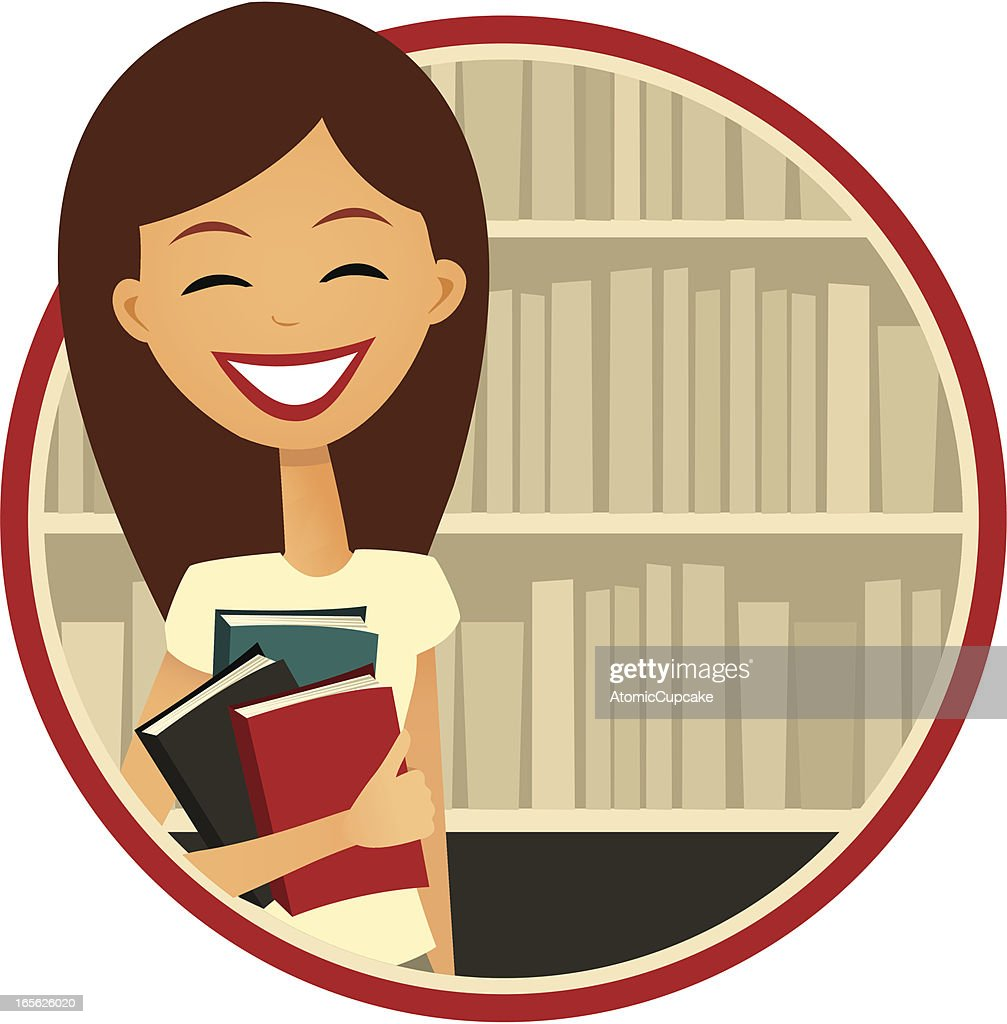 Book Lover: Smiling Woman by a Bookshelf, Retro Cartoon Style : stock illustration