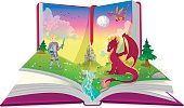 Book of fairytales with knight and dragon illustration