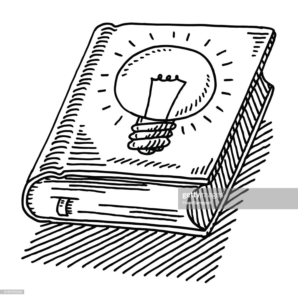 Book Of Ideas Lightbulb Drawing : stock illustration