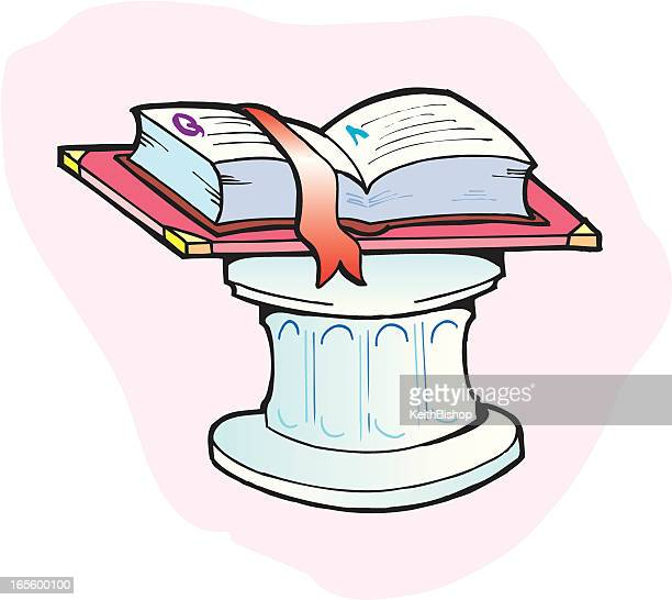 book on pedestal - education - bookstand stock illustrations, clip art, cartoons, & icons