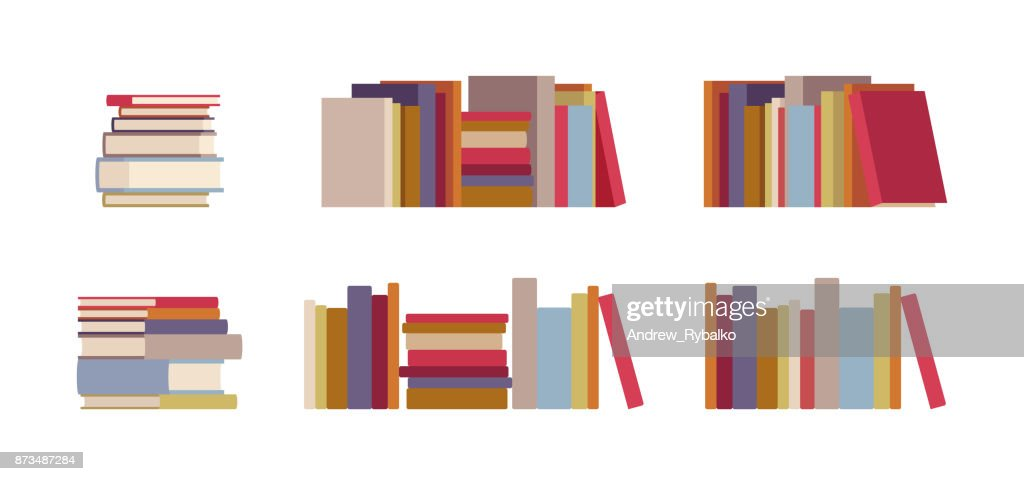 Book piles set