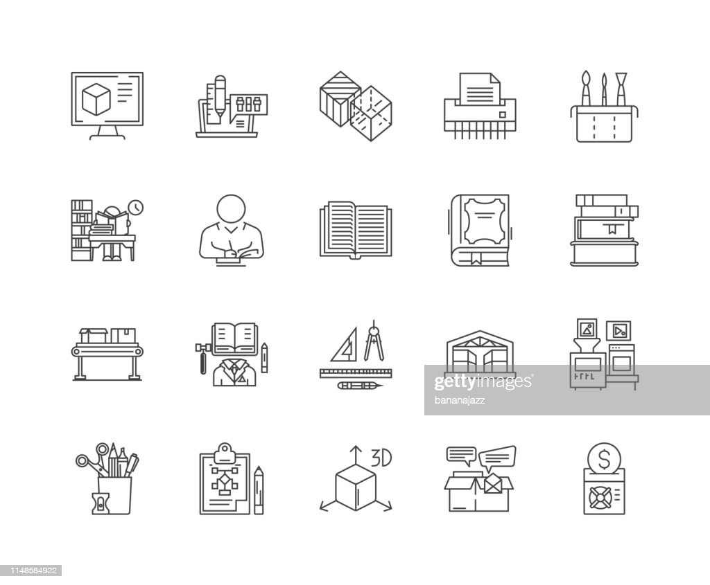 Book printing line icons, signs, vector set, outline illustration concept