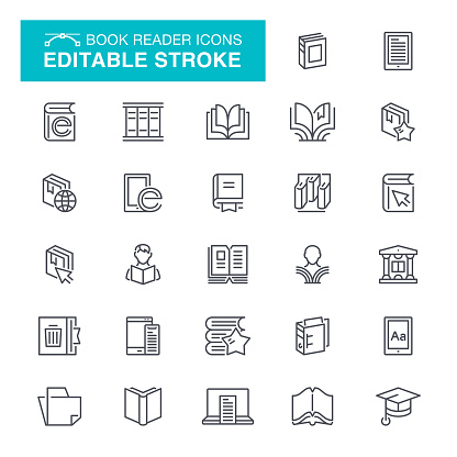 Book Reader Editable Stroke Icons - gettyimageskorea