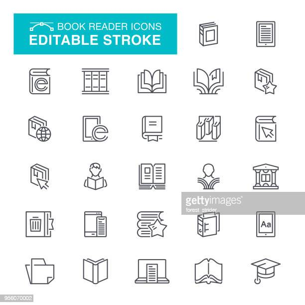 book reader editable stroke icons - library stock illustrations
