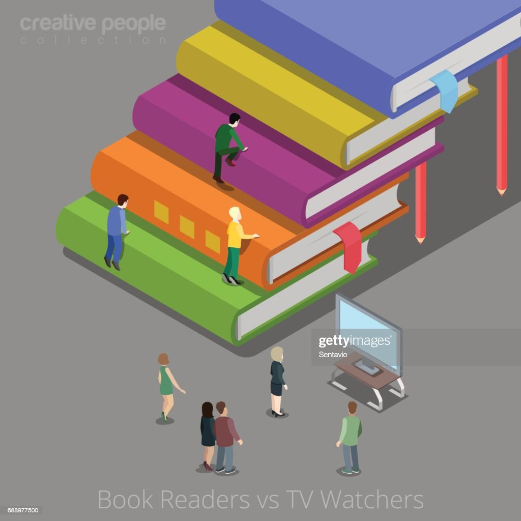 creative furniture icons set flat design. Book Readers And TV Watchers Auditory Concept. Flat 3d Isometry Isometric  Style Web Site App Creative Furniture Icons Set Flat Design S