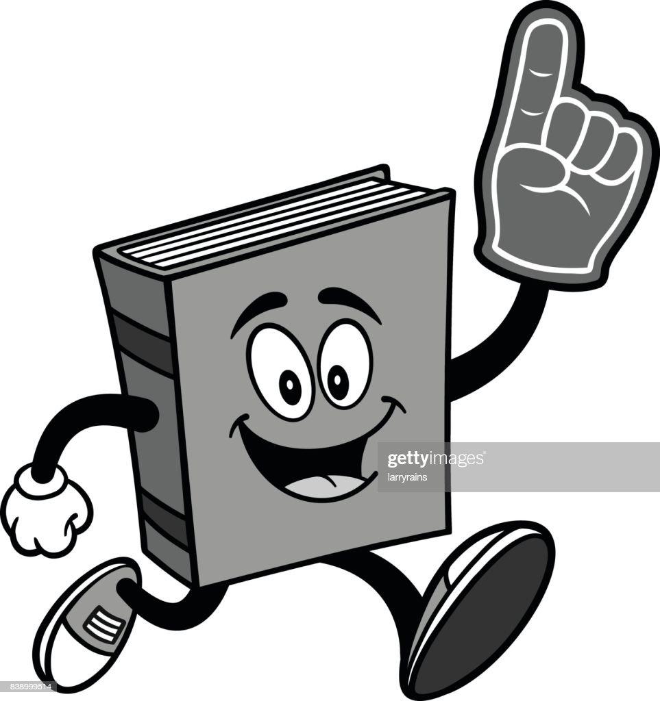 Book Running with Foam Finger Illustration