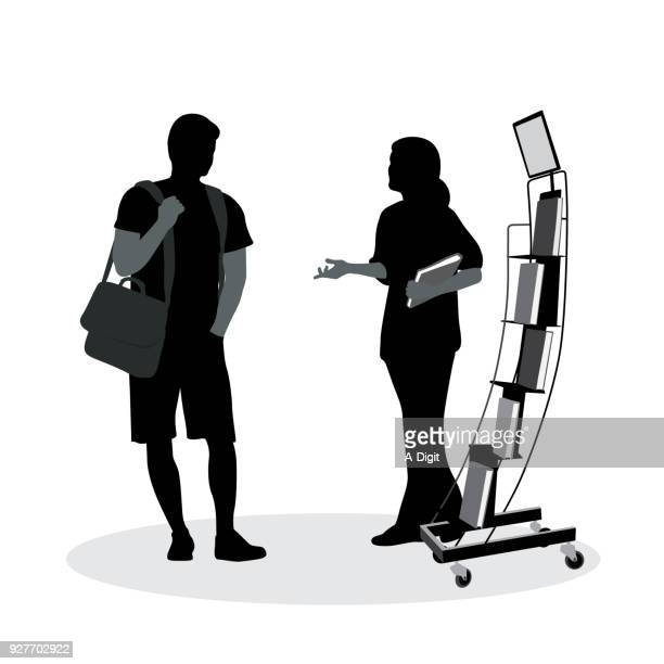 book sales woman - assistant stock illustrations, clip art, cartoons, & icons