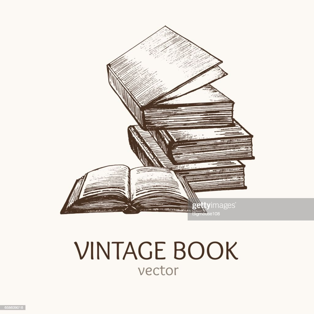 Book Stack Hand Draw Sketch Card. Vector