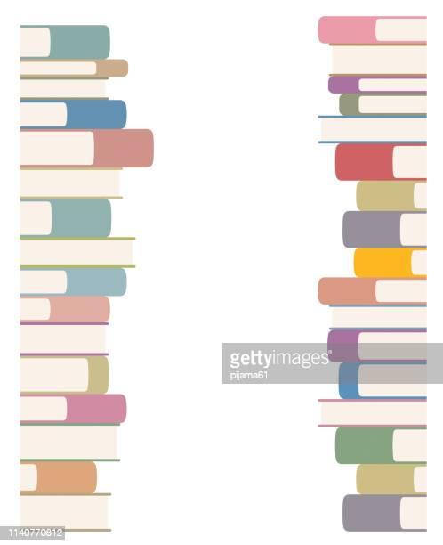 ilustrações, clipart, desenhos animados e ícones de pilhas de livros - livraria