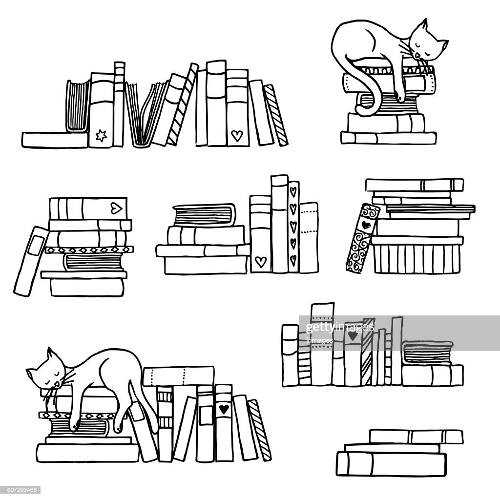 Book stacks with cute sleeping cat