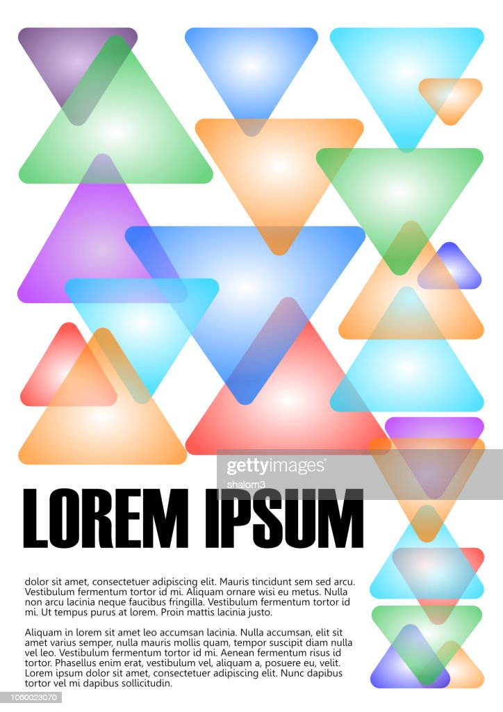 Book, textbook cover design. Abstract minimalist background with simple geometric elements, transparent multicolored pastel triangles on white background. Lorem ipsum example text