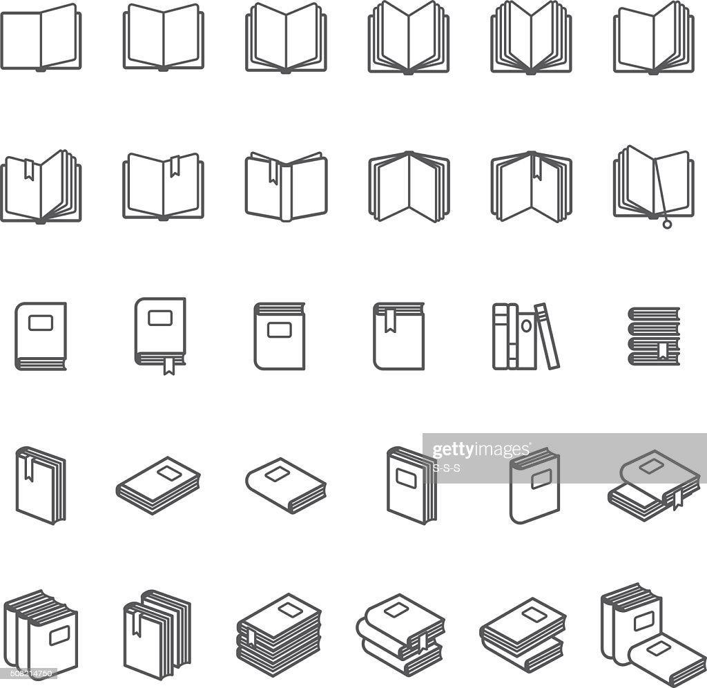 Book thin line icons