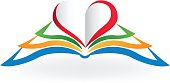 Book with heart love shape .Educational icon vector image