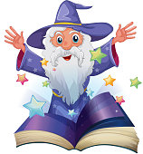 Book with image of old man and many stars