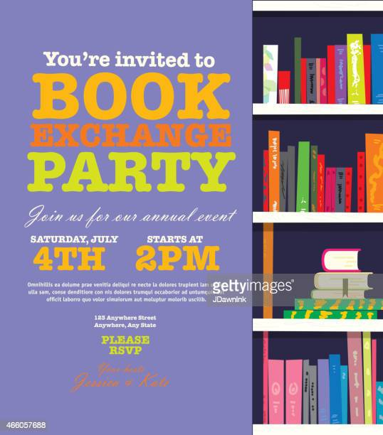 book worm exchange event invitation design template - party social event stock illustrations