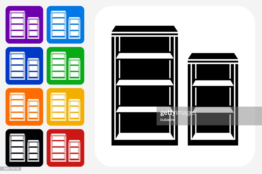 Bücherregal-Symbol Square Buttonset : Stock-Illustration