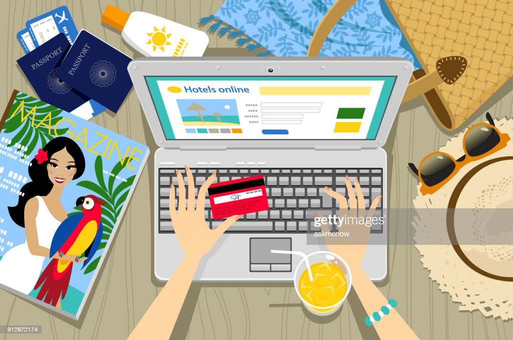 Booking a hotel online : Stock Illustration